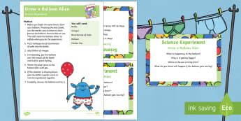 EYFS Grow a Balloon Alien Science Experiment and Prompt Card Pack - Aliens Love Underpants, Claire Freedman, space, fizzing, acids, alkali, gas