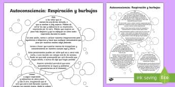 Actividad en grupo: Respiración y burbujas - Autoconsciencia - Mindfulness, respiración, relajación, relax, relajarse, repirar, mente, calma, calmarse, positivid
