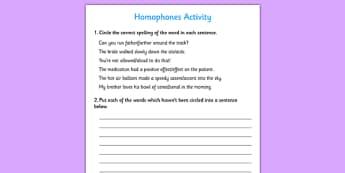 Homophones Activity - activities, game, games, homophone, same
