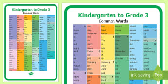 Kindergarten to Grade 3 Common Words A4 Display Poster - Classroom Management and Organization, common words, primary grades, language, spelling, writing.