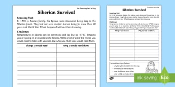 Siberian Survival Activity Sheet - Amazing Fact Of The Day, activity sheets, powerpoint, starter, worksheet, morning activity, May, inv