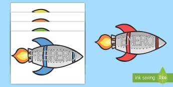 Palabras temáticas en imágenes: Los meses del año en cohetes - meses del año, meses, calendario, cohetes, espacio, enero, febrero, marzo, abril, mayo, junio, juli