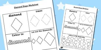 Diamond Shape Worksheet - diamond shape, worksheet, diamond, shape