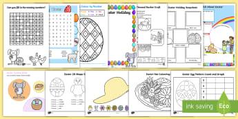 KS1 Easter Homework Activity Pack - Easter, activity, worksheet, egg, bunny, home learning, task