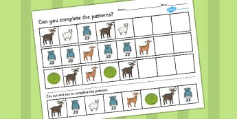 The Three Billy Goats Gruff Complete The Pattern Worksheets