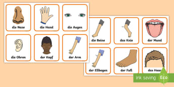 Parts of the Body Snap Card Game German - German Games, German snap, German body parts, German card games.,Scottish-translation