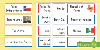 Texas Independence Word Cards - United States History, State history, Texas, Texas Independence, Alamo, San Jacinto, Houston, Santa
