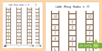 Ladder Missing Number to 10 Activity Sheets - New Zealand, maths, number ordering, missing number, Years 1-3, age 5, age 6, age 7, numbers to 10,