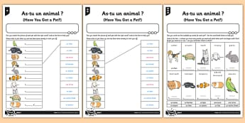 French Activity Sheet As Tu Un Animal - french, activity, as tu un animal, animal, francais, worksheet