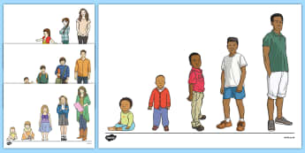 Growing Up Cut-Outs - Ourselves, myself, me, growing, changing, growth, humans, people, development, baby, toddler, child,