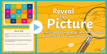 Place Value (2-Digit Numbers) Reveal the Picture Plenary Activity - CfE Numeracy and Mathematics, interactive, revision, number, tens, units, ones
