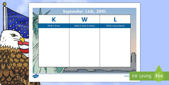 September 11th KWL Grid - Patriot Day, September 11th, World Trade Center, KWL, know, what to know, learned