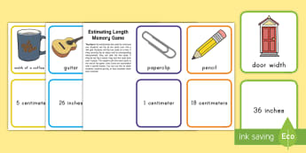 Estimating Length Concentration Game - estimation, length, measurement, inches, centimeters, memory, concentration, pelmanism game