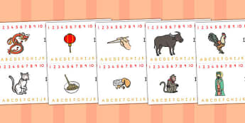Chinese New Year Combined Number and Alphabet Strips - australia