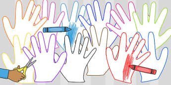 Multicoloured Hand Outlines - hand, outlines, multi-coloured