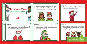 Year 2 Christmas Maths Time Challenge Cards - Christmas, Nativity, Jesus, xmas, Xmas, Father Christmas, Santa, St Nic, Saint Nicholas, traditions,