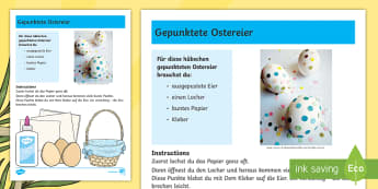 Gepunktete Ostereier Anleitung für Lehrkräfte - Ostern, Osterei, Ei, Punkte, Easter, Easter egg, dots,German