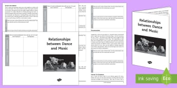 Music and Dance Relationships Activity Booklet - Dance Toolbox, music and dance, dance, ks3 dance, ks4 dance,