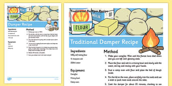 Damper Recipe Sheets - australia, Recipe, Damper, Bread, Australian, Cooking, Baking, Procedure