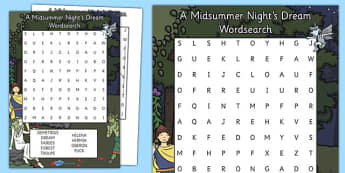 A Midsummer Night's Dream Word Search - a midsummer night's dream, wordsearch