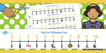 Rapunzel Number Lines 0-10 - number lines, rapunzel, 0-10, number