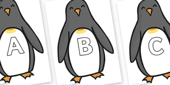 A-Z Alphabet on Penguins - A-Z, A4, display, Alphabet frieze, Display letters, Letter posters, A-Z letters, Alphabet flashcards