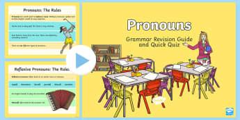 Pronoun Grammar Revision Guide and Quick Quiz PowerPoint  - Pronouns, sentences, language, writing, grammar,Australia, his, her, personal pronouns, possessive p