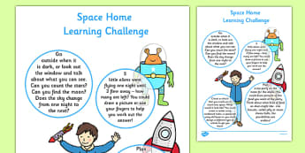 EYFS Space Home Learning Challenge Sheet Nursery FS1 - Home learning, homework, parents, early years, EYFS, Space, planets, aliens, the moon, rockets, spaceships