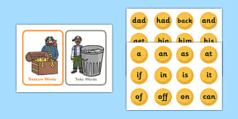 Buried Treasure Activity (Phase 2) - Buried Treasure, Phase 2, activity, Phase two, blending for reading, nonsense words, DfES Letters and Sounds, Letters and sounds, Letter flashcards