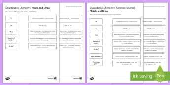 Quantitative Chemistry Differentiated Match and Draw - Match and Draw, gcse, chemistry, calculations, equations, moles, mole, atom economy, percentage yiel