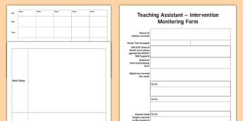 Teaching Assistant Intervention Group Monitoring Pro Forma