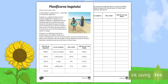 Planificarea bugetară pentru o vacanță de vară Fișă de activitate - matematică, buget, bani, educație financiară, vara, vara, vară, anotimpuri, română, materiale,