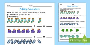 Adding 1 Worksheet - adding, 1, worksheet, add, math, one, number