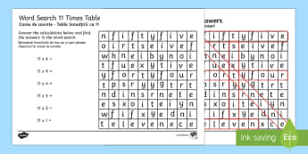 Multiplication 11 Times Tables Word Search Activity Sheet English/Romanian - multiplication, 11 times tables, word, search, wordsearch, worksheet, times tables, times, tables, m