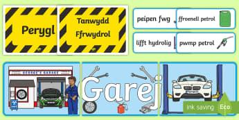 Mecanig Pecyn Chwarae Rôl - pobl sy'n ein helpu, car, ceir, mechanic, garage, people who help us,Welsh