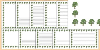 Sycamore Tree Themed Page Borders - sycamore tree, themed, page borders, pack, page, borders