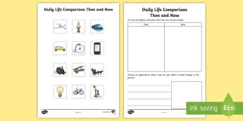 Daily Life Then and Now Activity Sheet - Australian History, Australian Families, ACHASSK030, ACHASSK046, Past and Present, worksheet, Austra