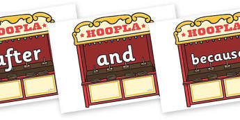 Connectives on Hoopla Stands - Connectives, VCOP, connective resources, connectives display words, connective displays