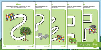 Pencil Control Path Activity Sheets - EYFS, Early Years, Elmer, David McKee, colour, elephant, pencil control, pencil grip, letter formati