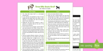 The Three Billy Goats Gruff Fact Sheet for Adults - EYFS, Early Years, KS1, fairytales, traditional stories, goats, grass, bridge, troll