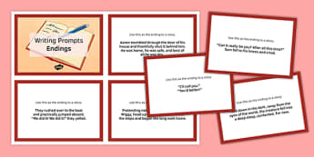 Ten Endings for Writing Prompts Cards - ten, endings, writing, prompts, cards