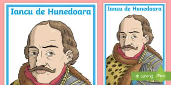 Iancu de Hunedoara - Planșă  - Vlad Țepeș, istoria românilor, planse, domnitori, Stefan cel Mare, Mircea cel Bătrân, Iancu de