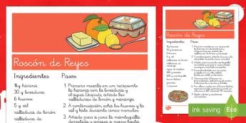 Receta del Roscón de Reyes Receta-Spanish - Textos, Receta, Roscón de Reyes, Comprensión lectora, imperativos, instrucciones.,Spanish