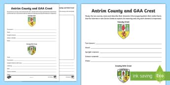 Antrim County and GAA Crest Activity Sheet - GAA Football All-Ireland Senior Championship, GAA Hurling All-Ireland Senior Championship, GAA crest