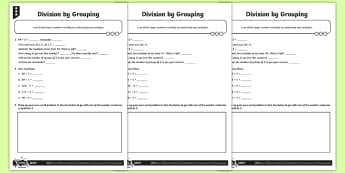 Division by Grouping Activity Sheets - Y4 Multiplication and Division Planit Maths, multiply, groups of, lots of, product, times, sets of,