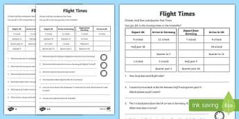 KS1 Time Activity Sheet Pack Flight Times - times, flight, ks1, activity, worksheet