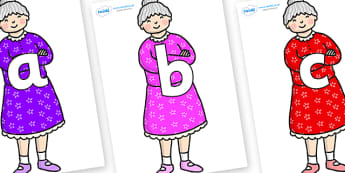 Phoneme Set on Enormous Turnip Old Woman - Phoneme set, phonemes, phoneme, Letters and Sounds, DfES, display, Phase 1, Phase 2, Phase 3, Phase 5, Foundation, Literacy