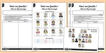 French Activity Sheet Voici Ma Famille - french, activity, voici ma famille, famille, francais, worksheet