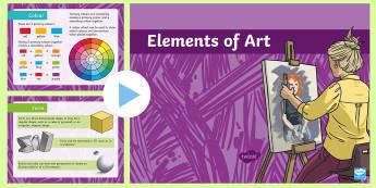 Elements of Art  PowerPoint - Elements of Art Display Posters - elements, art, display, poster