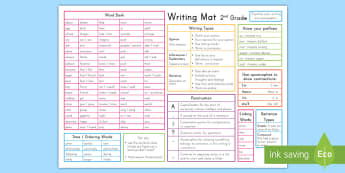 2nd Grade Writing Mat - US writing, writing guides, writing prompts,